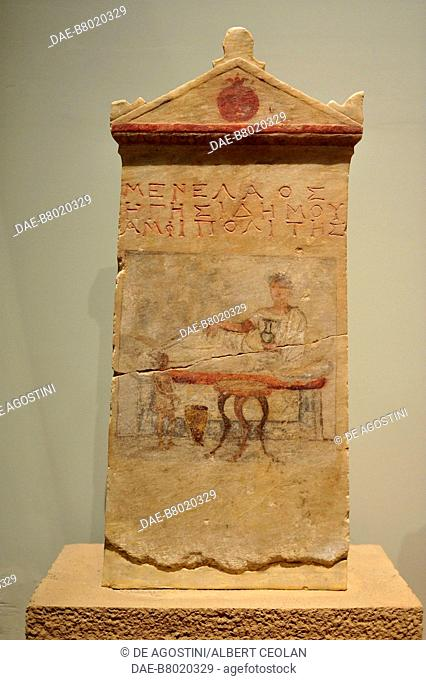 Funerary stele of Menelaos, sculpture with encaustic painting of a funerary banquet, from Demetrias, near Volos, Greece. Hellenistic civilization