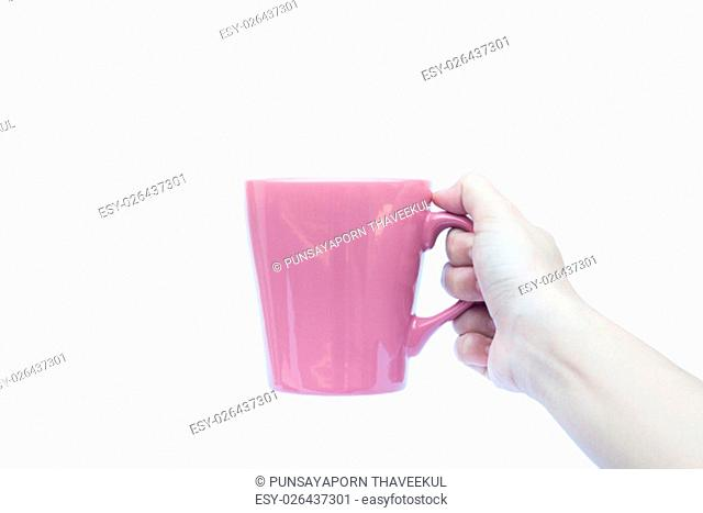 Woman hands holding coffee cup on white background