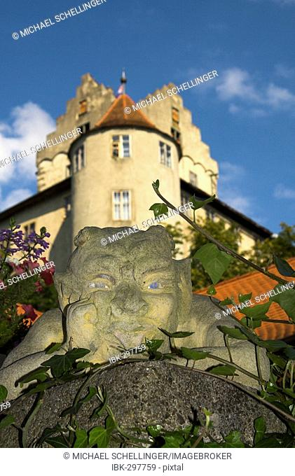 Stone devil in the old part of town of Meersburg, district Ueberlingen, Baden-Wuerttemberg, Germany