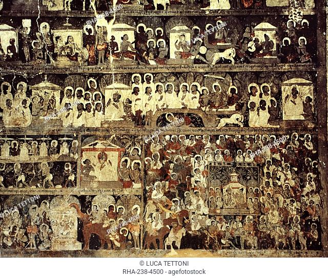 Sequential scenes from ten last Jataka stories decorating the wall of the hall of the Lokahteikpan Temple, dating from the mid 11th century AD, Bagan Pagan