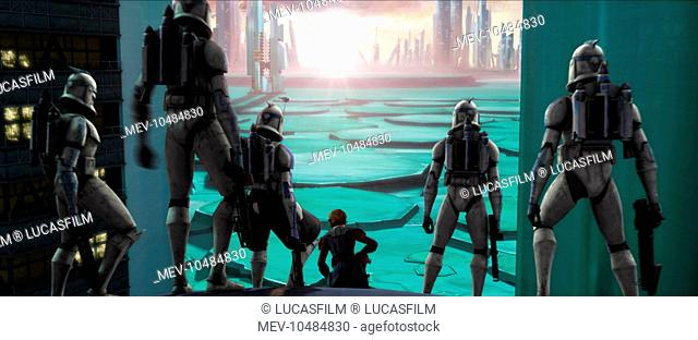 STAR WARS: THE CLONE WARS Jedi Knight and Clone Army General Anakin Skywalker surveys the battle scene with his troops at the ready