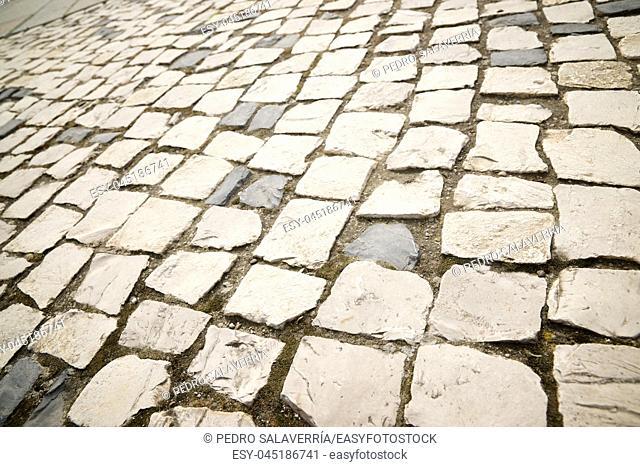 Floor of a street with stone tiles