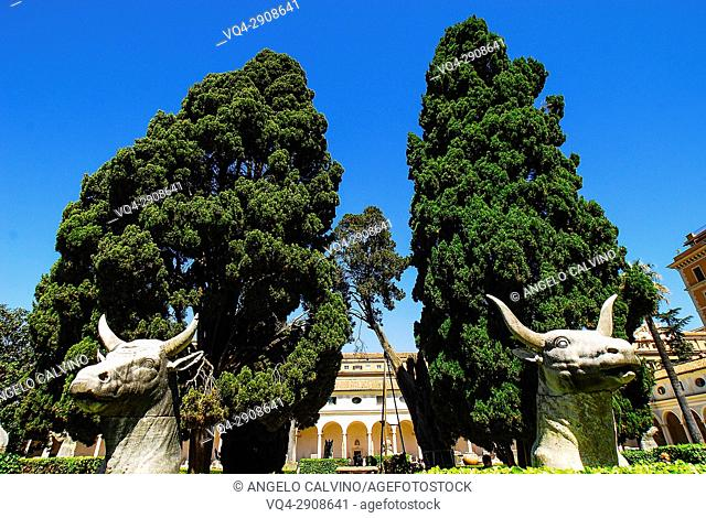 Statues representing two Bulls inside the Garden of Michelangelo's Cloister, Terme di Diocleziano, National Roman Museum, Rome, Italy