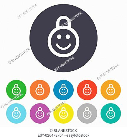 Child lock icon. Locker with smile symbol. Child protection. Round colourful 11 buttons. Vector