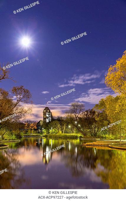 Pavilion in Assiniboine Park on a moonlit night, Winnipeg, Manitoba, Canada