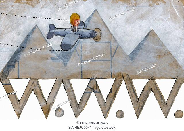 Woman flying in airplane over pyramids