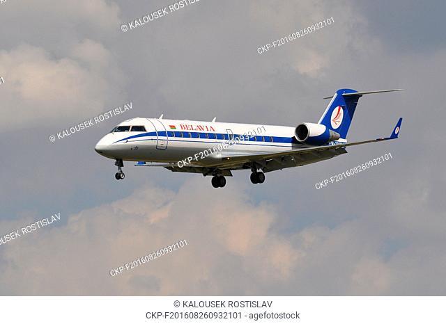 Airliner Canadair CL-600 EW-303PJ Belavia airline, Czech Republic, 2016. (CTK Photo/Rostislav Kalousek)