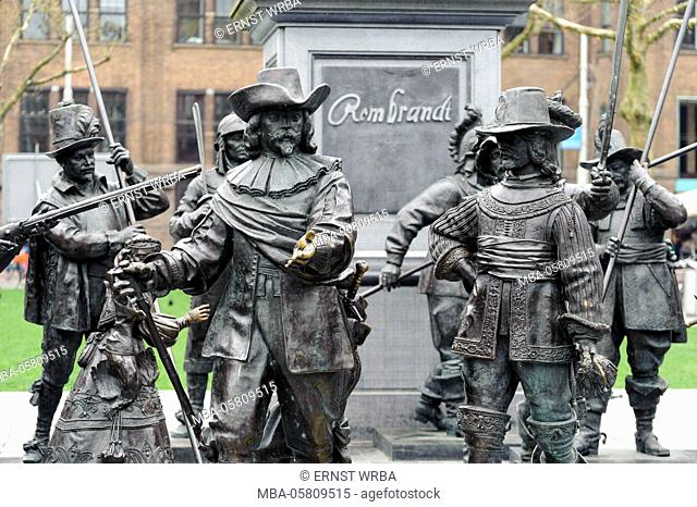 Rembrandtplein, statues of the night guards from Rembrandt, Amsterdam, Holland, Netherlands