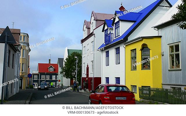 Reykjavik Iceland downtown colorful houses on street in neighborhood homes