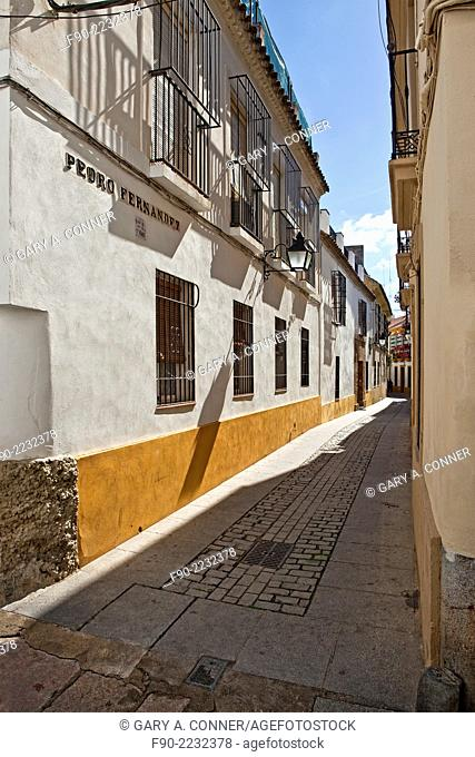 Typical narrow street in Old Quarter, Cordoba, Spain