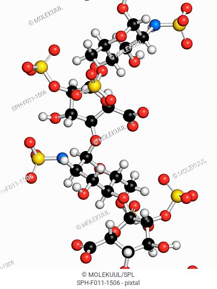 Heparin anticoagulant drug, chemical structure. Atoms are represented as spheres with conventional color coding: hydrogen (white), carbon (black), oxygen (red)