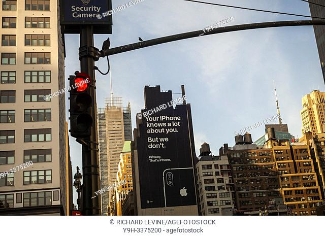 A billboard on the side of a building in Midtown Manhattan on Tuesday, July 9, 2019 informs viewers of the privacy afforded by using Apple devices