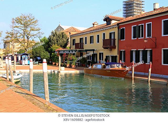 A water taxi waiting outside the Locanda Cipriani Hotel, Torcello, Venice, Veneto, Italy, Europe