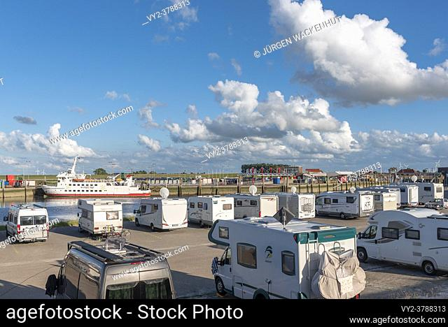 Pitch for motorhomes at the port, Harlesiel, Lower Saxony, Germany, Europe