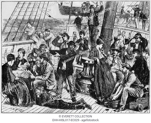 Emigrants on the open deck of an immigrant steamship to Canada, site land after at least two weeks at sea. The ship, GANGES
