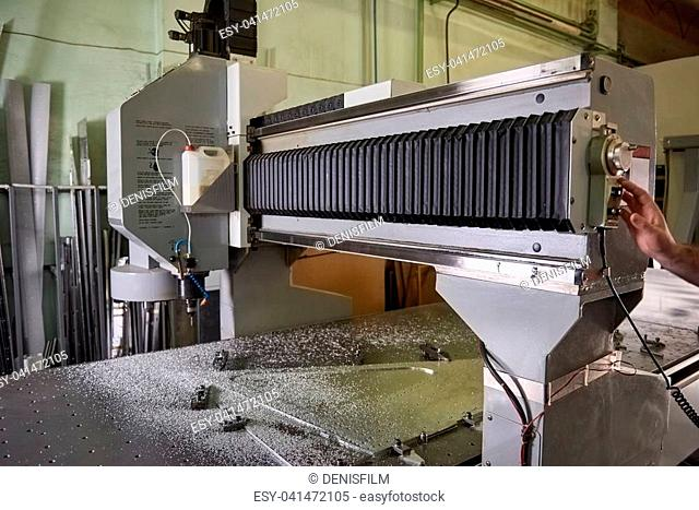 Cnc drilling machine, factory. Modern metalworking machinery