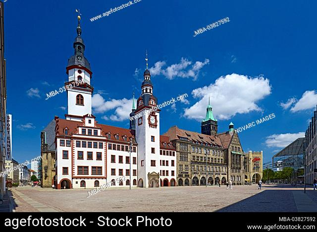 Market with old and new town hall, St. Jakobi town church in Chemnitz, Saxony, Germany
