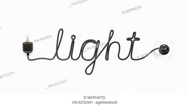 A light bulb building the word light with the cable - 01/01/2018