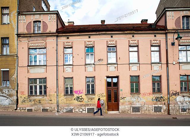 buildings in kosevo street, sarajevo, bosnia and herzegovina, europe