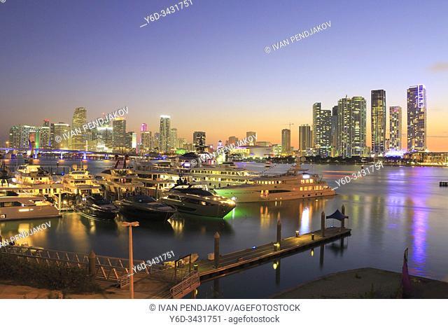 Miami Downtown at Sunset, Florida, USA