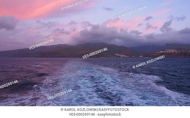 Seascape behind the Ferry leaving San Sebastian of La Gomera during the Sunrise on Canary Islands, Spain