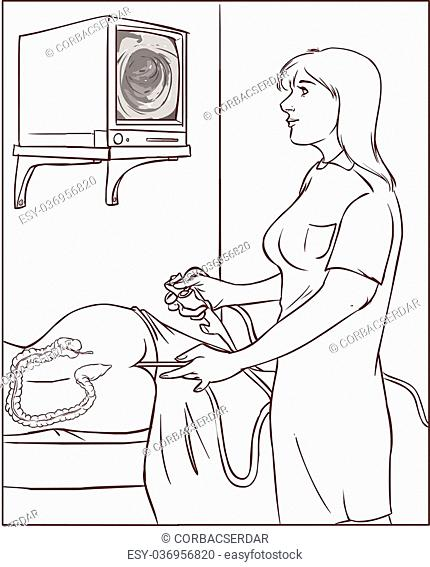 Vector illustration of a doctors who perform colonoscopy