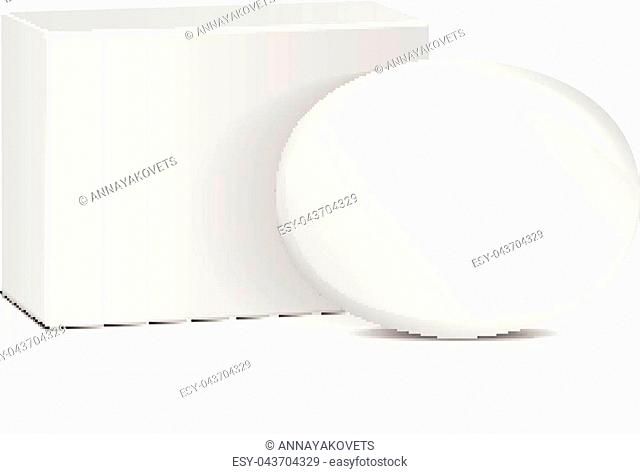 Oval soap with white box. Realistic mockup package for your design