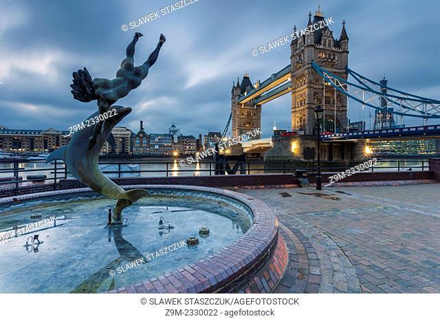 Early morning at St Katharine's Dock, London, England, United Kingdom. Looking towards Tower Bridge