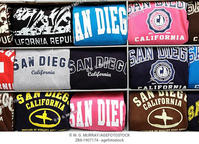 San Diego sweatshirts for sale at an outdoor kiosk in downtown San Diego, California, USA