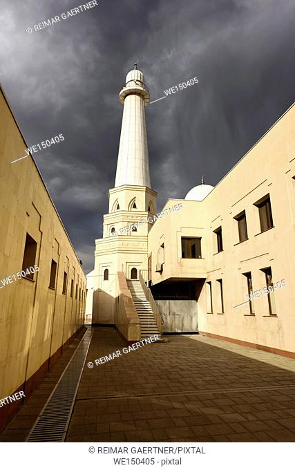 Minaret of Sheikh Khalifa Bin Zayed Al Nahyan Mosque in Shymkent Kazakhstan