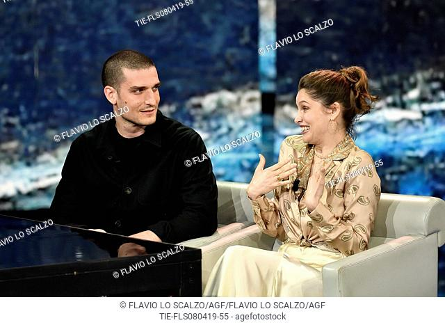 Louis Garrel, Laetitia Casta during the tv show Che tempo che fa, Milan, ITALY-07-04-2019