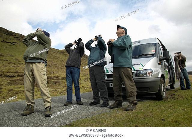 Birdwatchers on safari on Island of Mull, Scotland