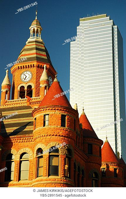 Old and New, Old Red Courthouse and the 74 Story Bank of America Building, Dallas