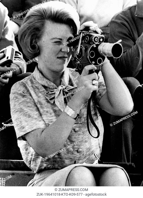 Oct. 18, 1964 - Toyko, Japan - Crown PRINCESS BEATRIX daughter of Queen Juliana and Prince Bernhard of the Netherlands, pictured filming the Olympic Games in...