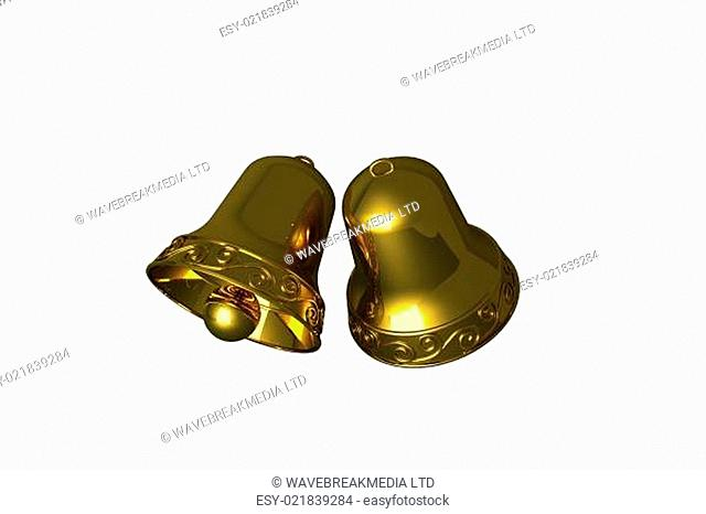 Digitally generated golden christmas bells