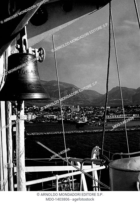 A nautical bell. The Vulcania boat, at the berth in the port of Patrasso, was visited by hundreds of Greek authorities and figures