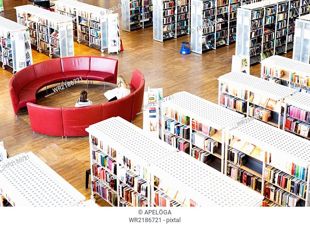 High angle view of women sitting on sofa in library