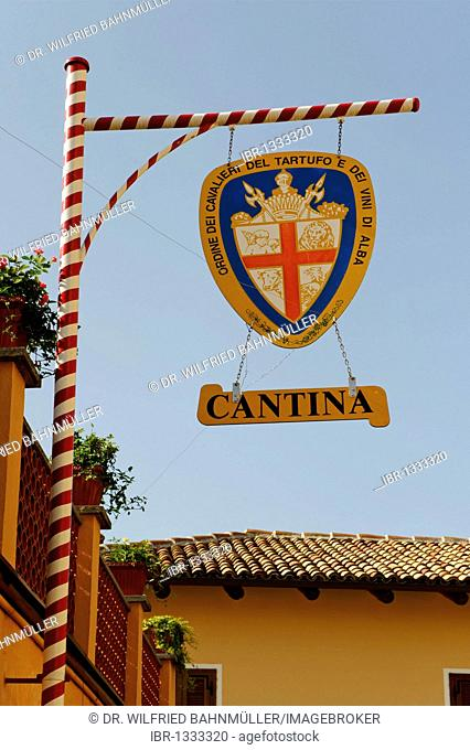 Cantina, sign for a wine producer, Barbaresco, Provincia Cuneo, Piemont, Piedmont, Italy, Europe