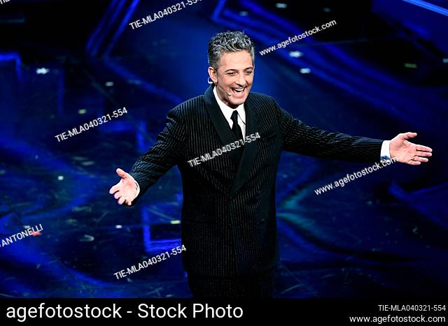 Italian showman Rosario Fiorello (R) on stage at the Ariston theater during the 71st Sanremo Italian Song Festival, in Sanremo, Italy, 04 March 2021