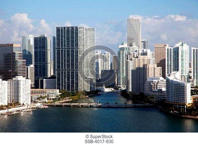 Aerial of Miami River in Downtown Miami