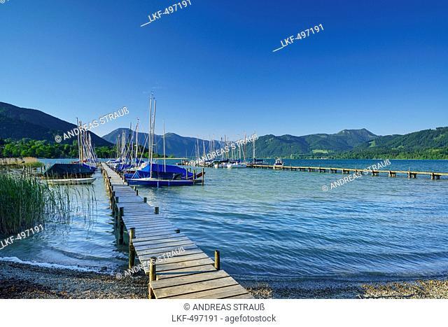 Jetty and sailing boats at lake Tegernsee, Bavarian Alps, Upper Bavaria, Bavaria, Germany