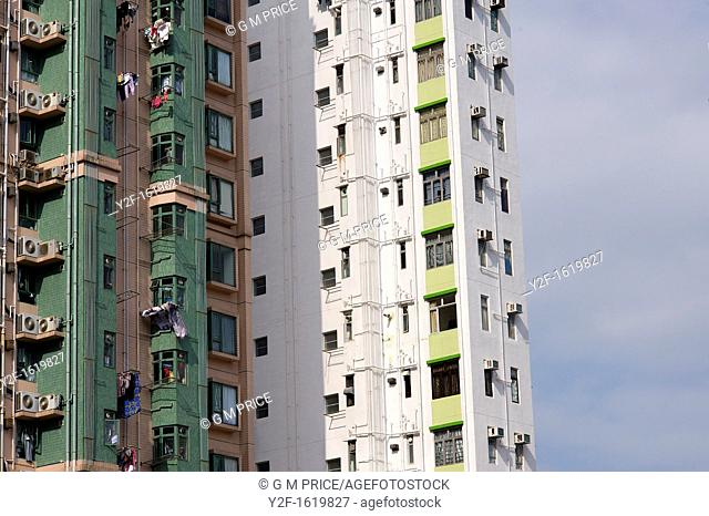 windows in high rise apartments near Aberdeen, Hong Kong