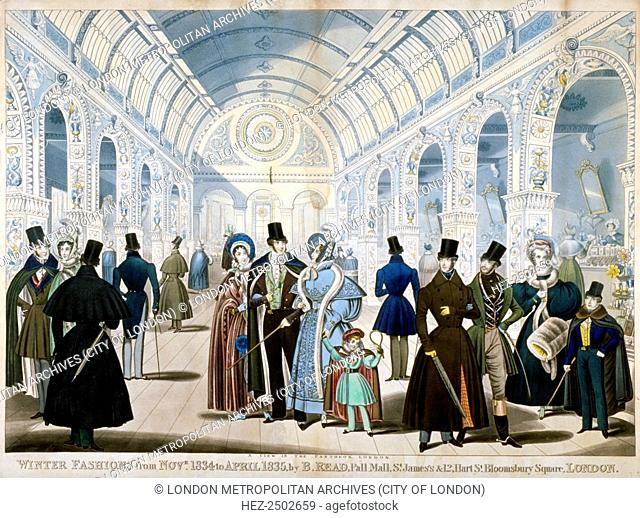 'Winter Fashions from November 1834 to April 1835', 1834.View of figures wearing winter fashions in the Pantheon, on Oxford Street, Westminster, London