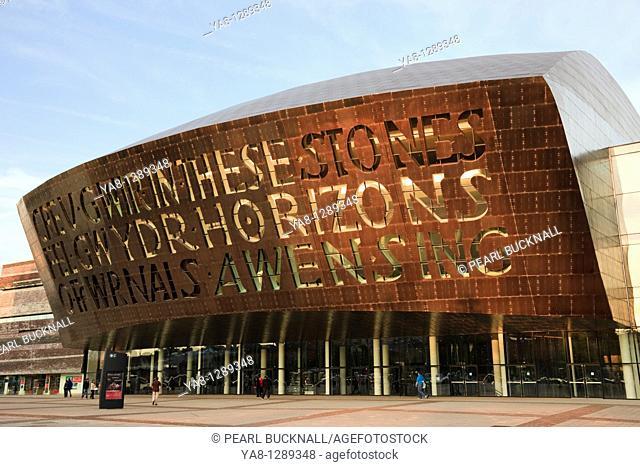 Roald Dahl Plass, Cardiff Bay Bae Caerdydd, Glamorgan, South Wales, UK, Europe  Millennium Centre arts complex front entrance