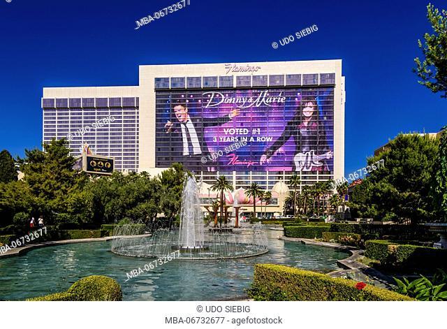 The USA, Nevada, Clark County, Las Vegas, Las Vegas Boulevard, The Strip, flamingo, view from Caesar Palace