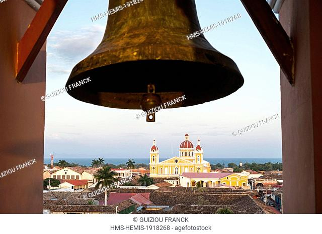 Nicaragua, Granada department, Granada, the roofs of Granada and the Cathedral from the bell tower of the church La Merced