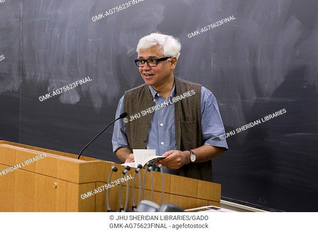 """Bengali Indian author Amitav Gosh reads from his novel """"""""River of Smoke"""""""" on Johns Hopkins University's Homewood campus in Baltimore, Maryland, September 28"""