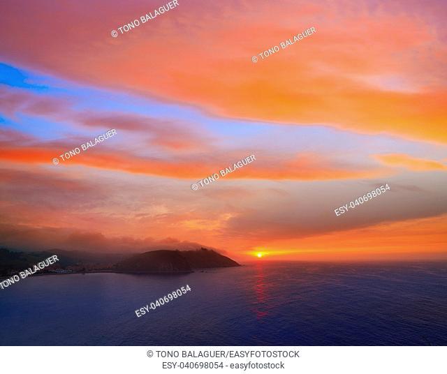 Ribadesella sunset in Asturias of Spain