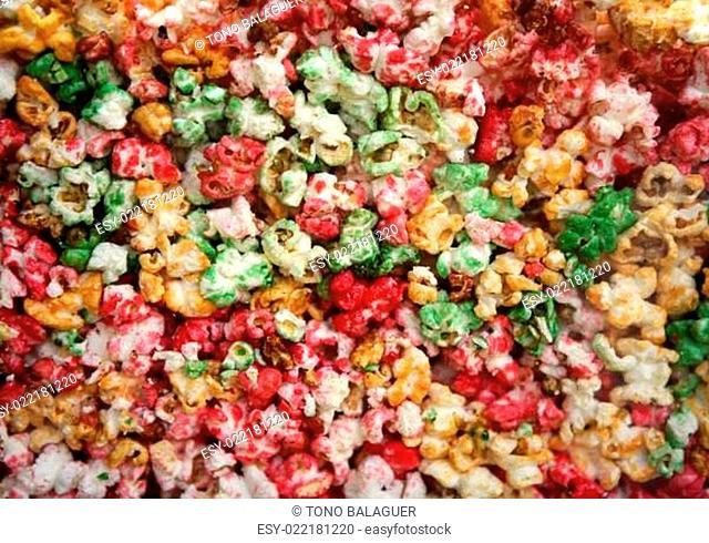 multi color, sweet pop corn macro