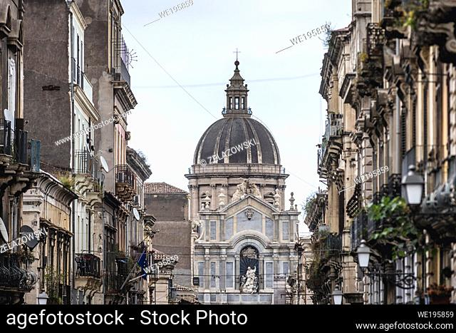 Cathedral dedicated to Saint Agatha seen from Via Giuseppe Garibaldi in Catania, second largest city of Sicily island in Italy